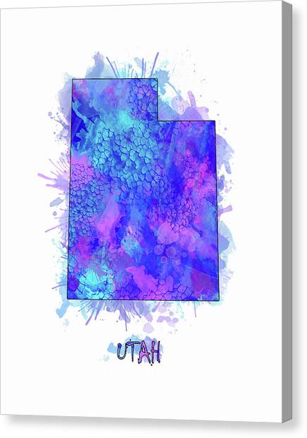 Utah Jazz Canvas Print - Utah Map Watercolor 2 by Bekim Art