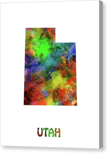 Utah Jazz Canvas Print - Utah Map Watercolor by Bekim Art