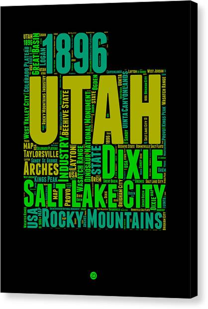 Independence Day Canvas Print - Utah Word Cloud Map 1 by Naxart Studio