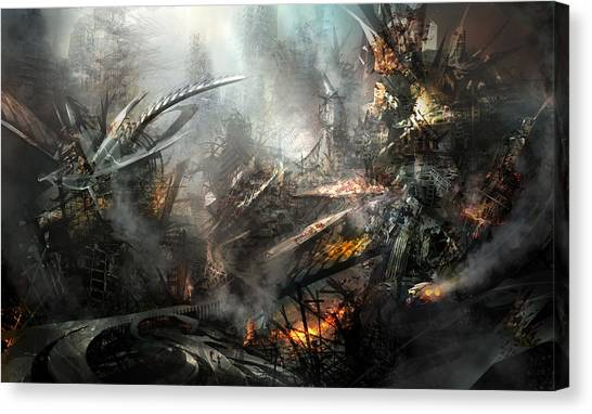 Future Tech Canvas Print - Utherworlds Ashes by Philip Straub
