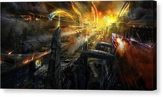 Future Tech Canvas Print - Utherworlds Battlestar by Philip Straub