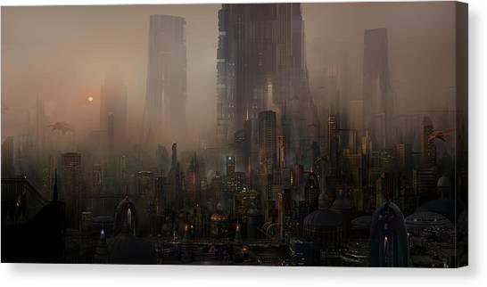 Future Tech Canvas Print - Utherworlds Cohabitations by Philip Straub