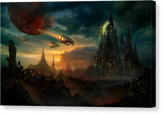 Space Ships Canvas Print - Utherworlds Sosheskaz Falls by Philip Straub