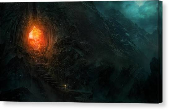 Fantasy Cave Canvas Print - Utherworlds Threads Of Kirillia by Philip Straub