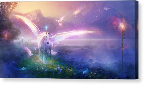 Pegasus Canvas Print - Utherworlds Winter Dawn by Philip Straub
