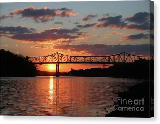 Utica Bridge At Sunset Canvas Print