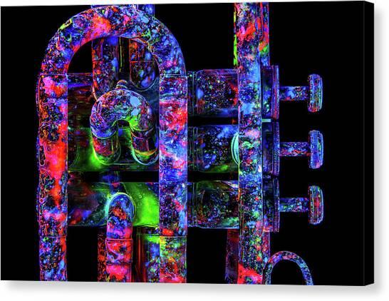 9646a9a1920 Blacklight Paint Canvas Print - Uv Trumpet C2 by John Poppleton