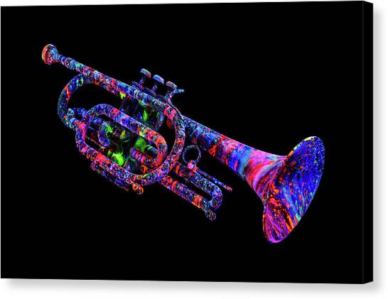 17e53bdf139 Blacklight Paint Canvas Print - Uv Trumpet by John Poppleton