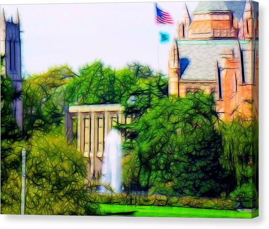 Graduate Degree Canvas Print - Uw Fountain by Tim Coleman