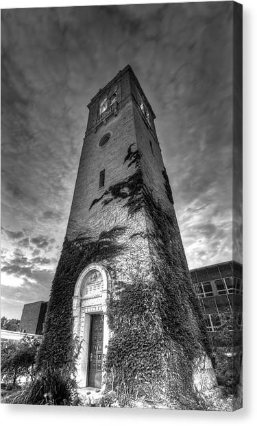 University Of Wisconsin - Madison Canvas Print - Uw Madison Carillon Tower Black And White by Gregory Payne