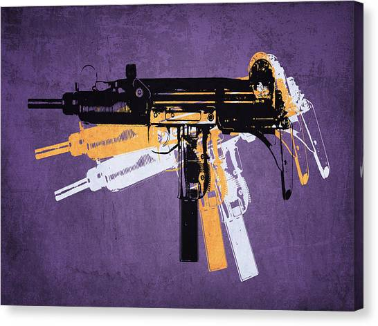 Pop Art Canvas Print - Uzi Sub Machine Gun On Purple by Michael Tompsett