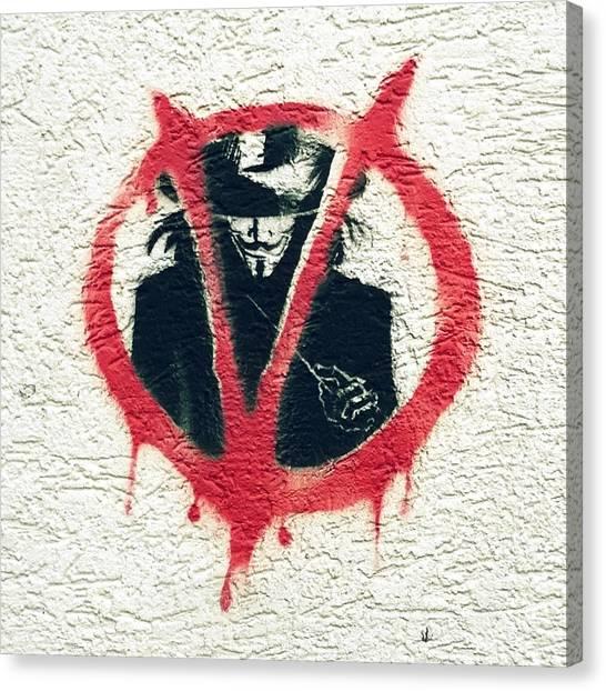 Graffiti Walls Canvas Print - V For Vendetta by Bela Dako