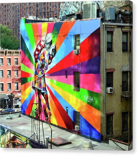 V - J Day Mural By Eduardo Kobra # 2 Canvas Print