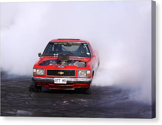 V8 Ute Doing A Burnout Canvas Print by Stephen Athea