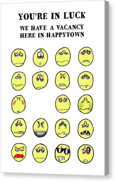 Vacancy In Happytown Canvas Print