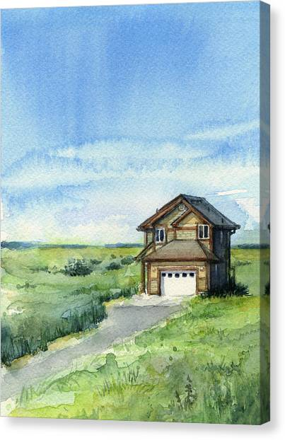 Dunes Canvas Print - Vacation House In A Field - Watercolor - Long Beach, Wa by Olga Shvartsur