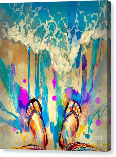 Canvas Print featuring the painting Vacation Time by Tithi Luadthong