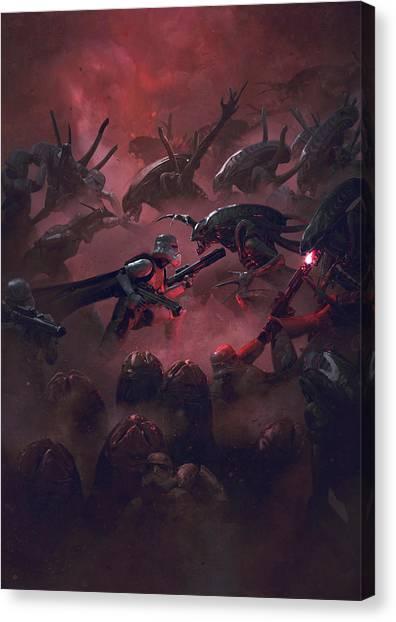 Stormtrooper Canvas Print - Vader Vs Aliens 1 by Exar Kun