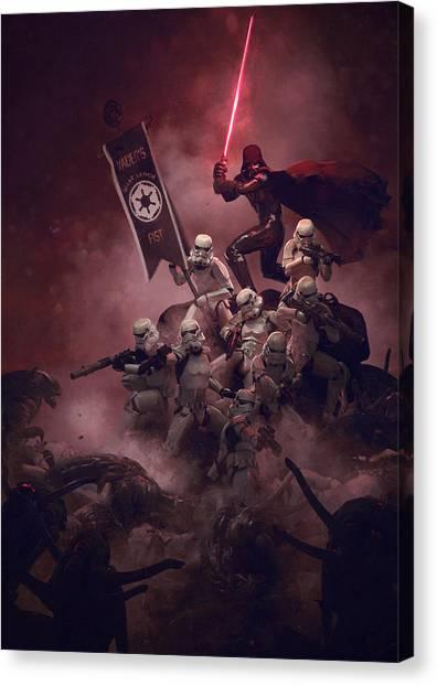 Star Wars Canvas Print - Vader Vs Aliens 3 by Exar Kun