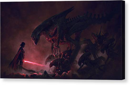 Jedi Canvas Print - Vader Vs Aliens 4 by Exar Kun