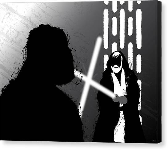Padawan Canvas Print - Vader Vs Obi-wan Kenobi by Nathan Shegrud