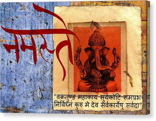 Canvas Print featuring the mixed media Vakratunda Mahakaya Shlok Mantra Bhagavaan Ganesh Ko by Lita Kelley