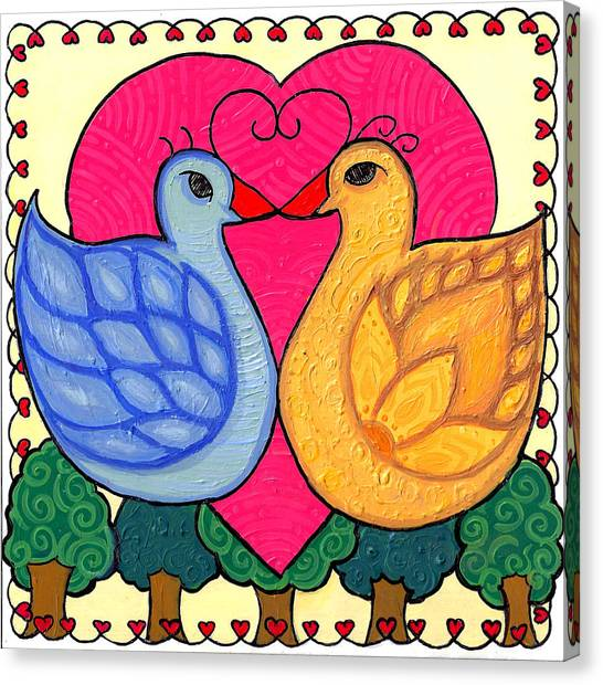 Valentine Birds Canvas Print