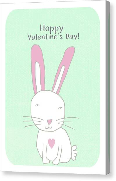 Rabbits Canvas Print - Valentine Bunny- Art By Linda Woods by Linda Woods