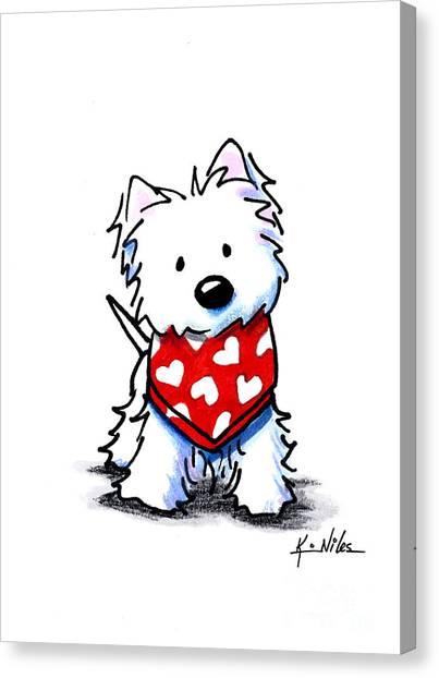 Valentine Westie Canvas Print
