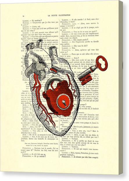Wedding Gift Canvas Print - Valentine's Day Gift, Heart With Key by Madame Memento