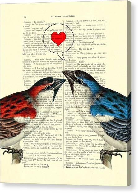 Robin Canvas Print - Valentine's Day by Madame Memento