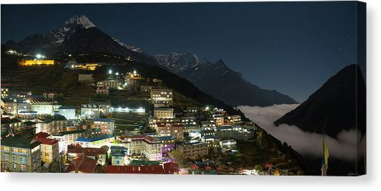 Canvas Print featuring the photograph Valley Clouds In Namche Bazaar by Owen Weber
