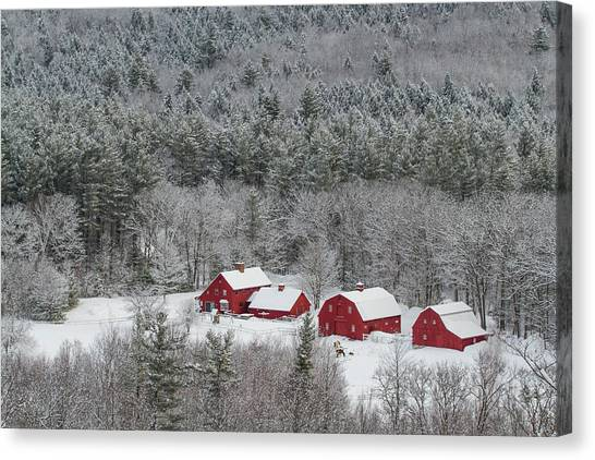 Valley Farm In Winter Canvas Print