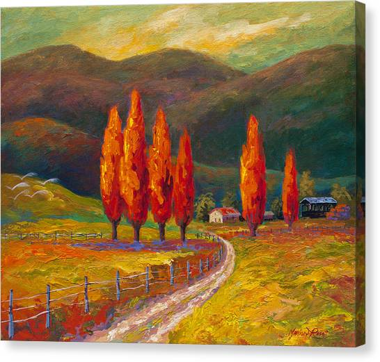 Italian Landscape Canvas Print - Valley Farm by Marion Rose