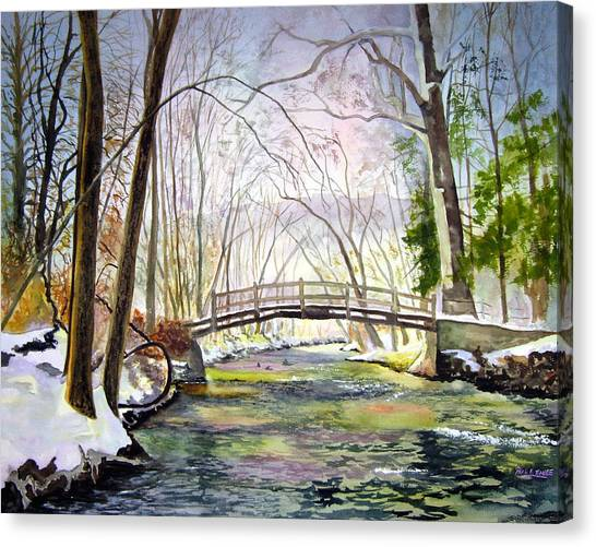 Valley Forge Footbridge Canvas Print by Paul Temple