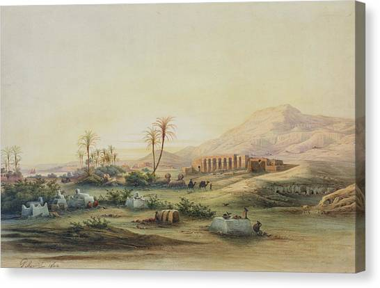 The Nile Canvas Print - Valley Of The Nile With The Ruins Of The Temple Of Seti I by Prosper Georges Antoine Marilhat
