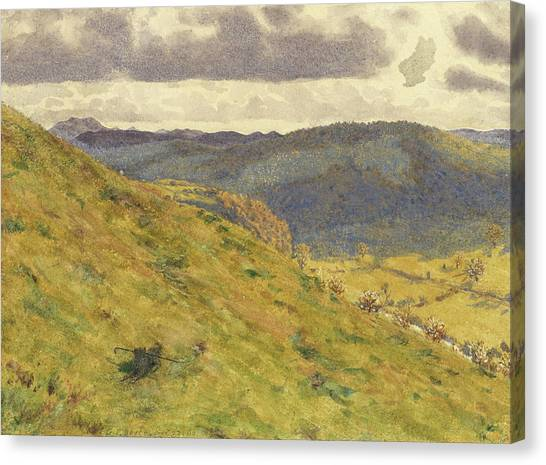 Dog Running Canvas Print - Valley Of The Teme, A Sunny November Morning by George Price Boyce