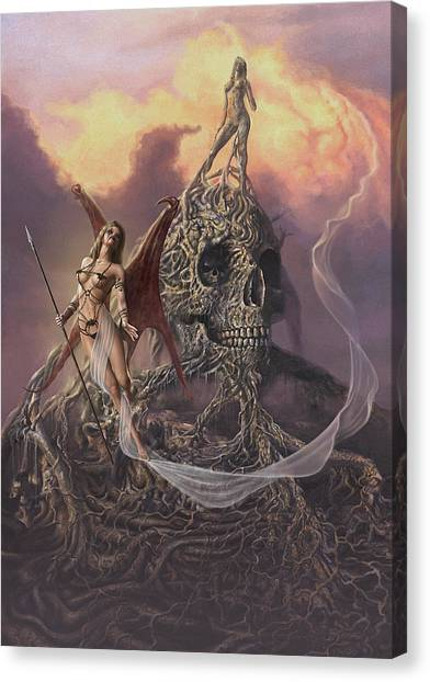 Canvas Print featuring the digital art Vampis Lair by Uwe Jarling