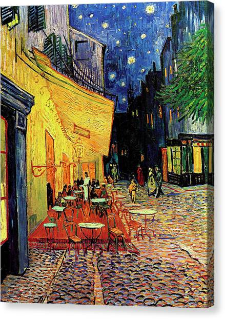 Happy Birthday Canvas Print - Van Gogh Cafe Terrace Place Du Forum At Night by Vincent Van Gogh