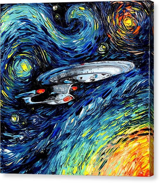 Starship Enterprise Canvas Print - van Gogh Never Boldly Went by Aja Apa-Soura