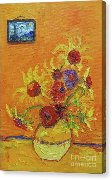 Inspired By Van Gogh Canvas Print - Van Gogh Starry Night Sunflowers Inspired Modern Impressionist by Patricia Awapara