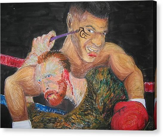 Mike Tyson Canvas Print - Van Gogh Vs Tyson by Dominic Pangelinan