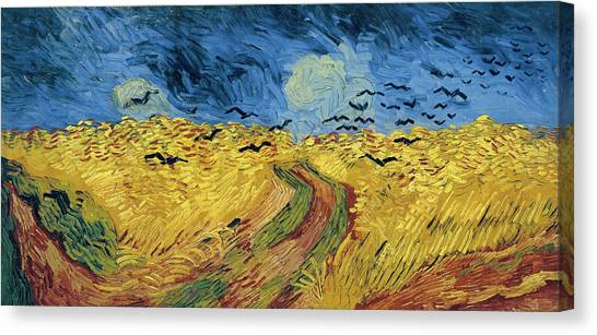 Post-impressionism Canvas Print - Van Gogh Wheatfield With Crows by Vincent Van Gogh