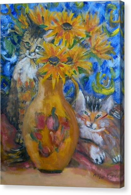 Main Coons Canvas Print - Van Gogh's Cats by Bonnie Wilber