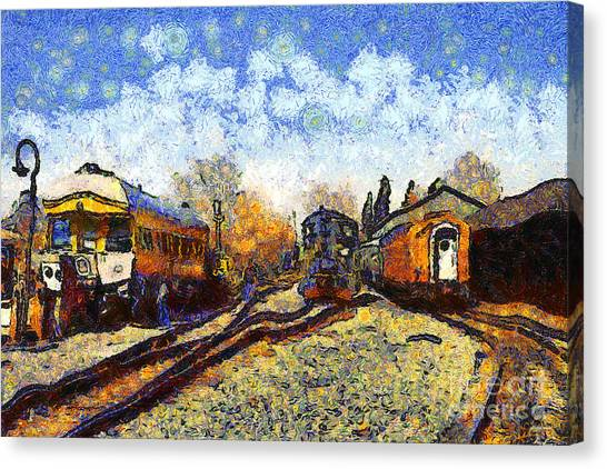 Van Gogh.s Train Station 7d11513 Canvas Print