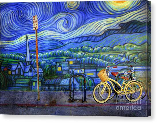Van Gogh's Yellow And Green Bicycles Canvas Print