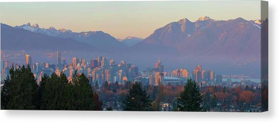 Canvas Print - Vancouver Bc Downtown Cityscape At Sunset Panorama by David Gn
