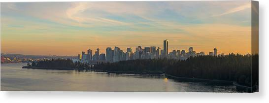 Canvas Print - Vancouver Bc Skyline Along Stanley Park At Sunset by David Gn