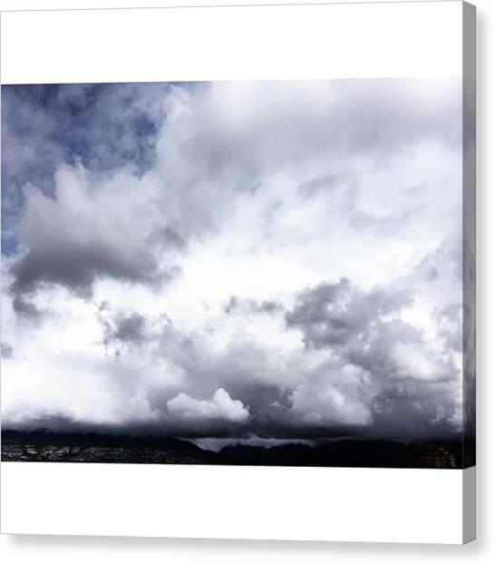 Vancouver Skyline Canvas Print - #vancouver #beautifulday #clouds #cloud by Amirreza Ahmadivafa