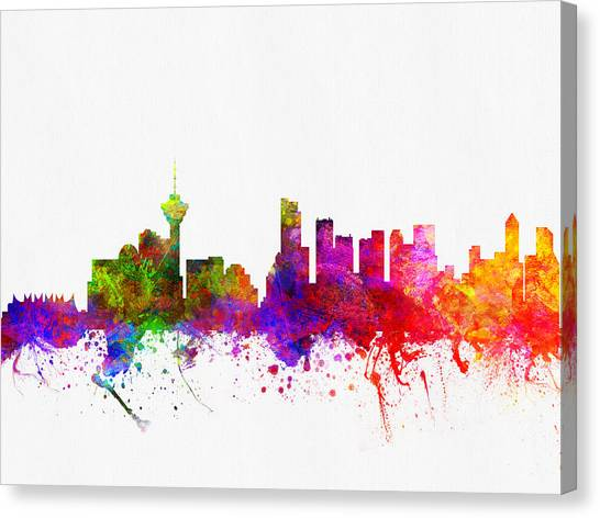 Vancouver Skyline Canvas Print - Vancouver British Columbia Skyline Color02 by Aged Pixel